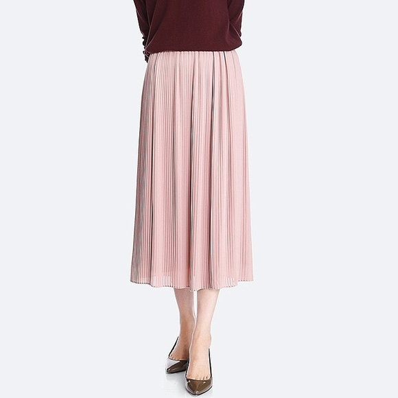 2bf2e87b04 Uniqlo Skirts | High Waist Chiffon Pleated Skirt Light Pink | Poshmark